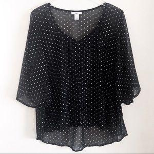 Bar III Sheer Black & White Polka Dot Blouse XL